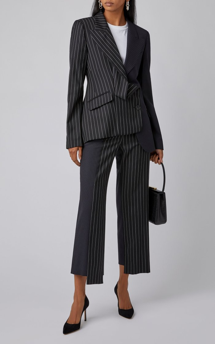 Two Tone Pinstripe Wool-Blend Pants