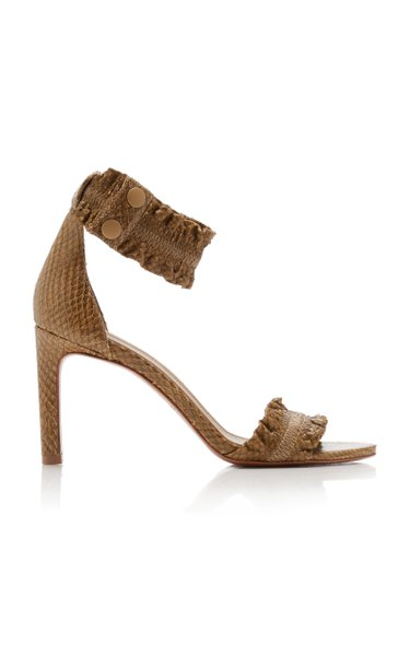 Ruffled Snake-Effect Leather Sandals