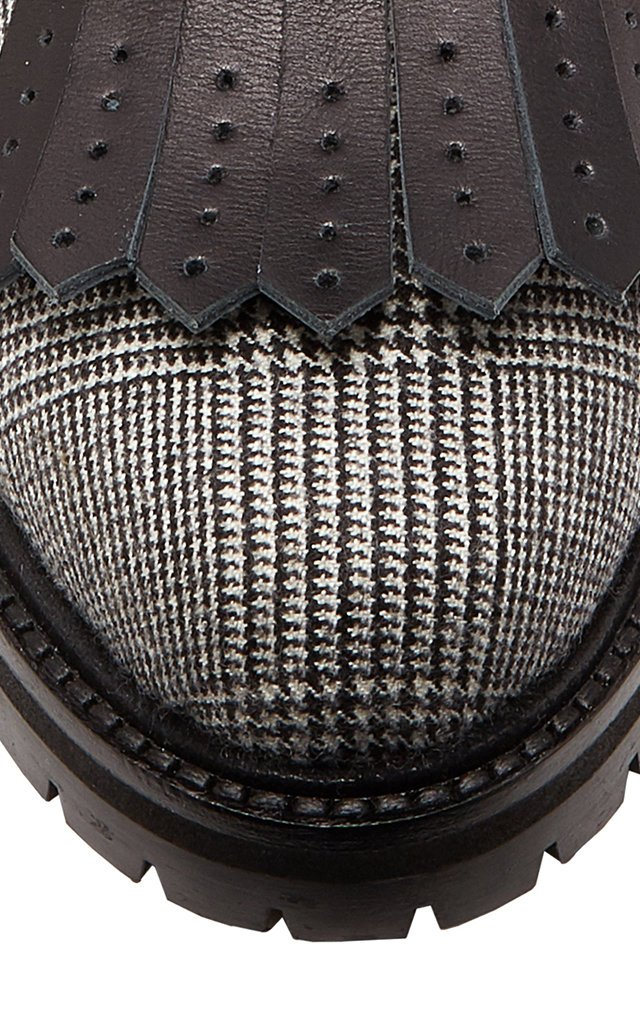 Rhodes Leather-Trimmed Houndstooth Wool Ankle Boots