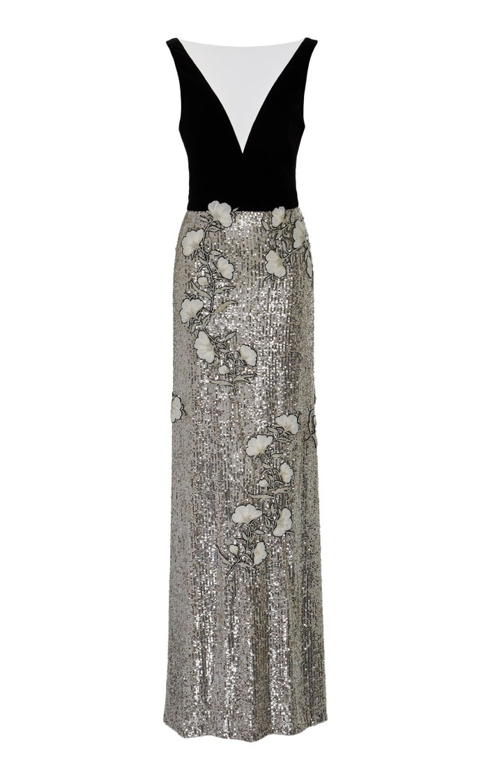 Velvet-Paneled Floral-Appliquéd Silk Gown