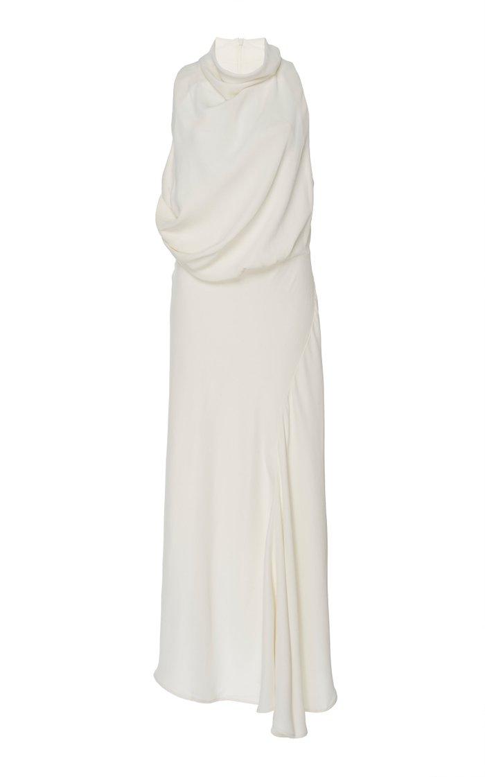 Indiannah Draped Crepe Maxi Dress
