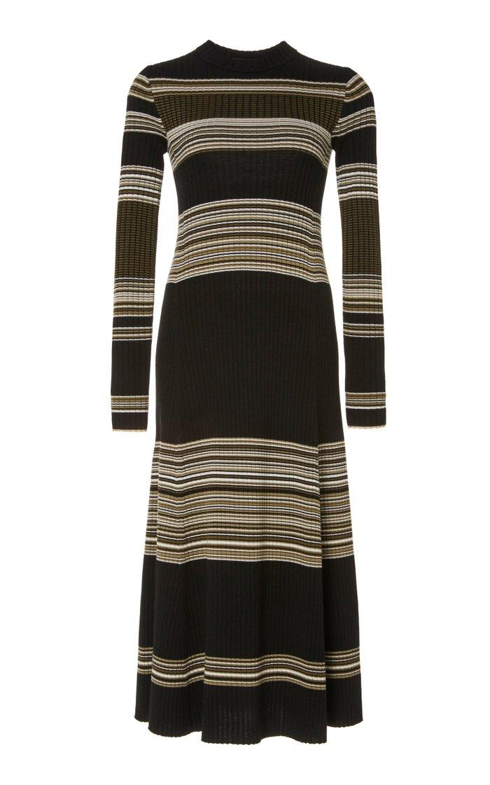 Striped Wool Maxi Dress