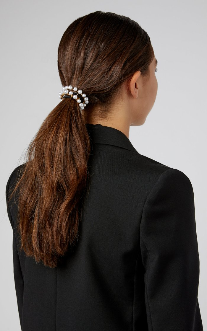 Gold-Plated Faux Pearl Hair Tie