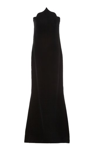 Train-Detailed Velvet Column Gown