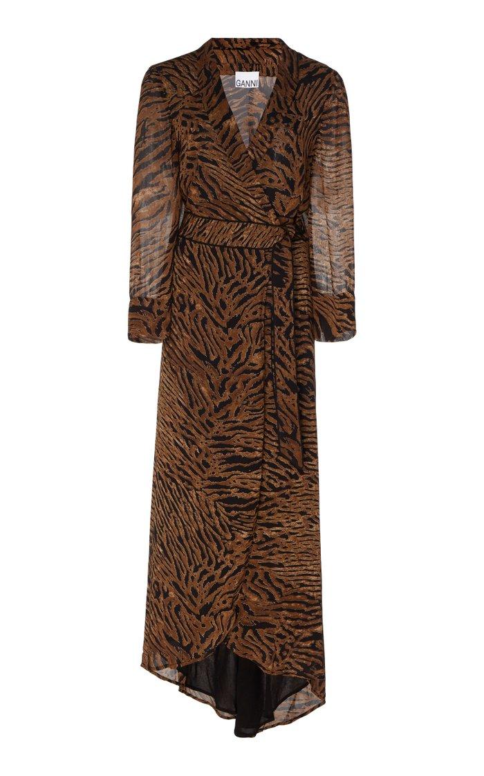 Animal-Print Georgette Wrap Dress
