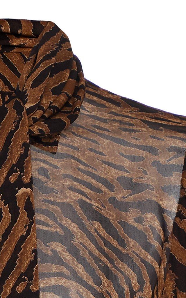 Tie-Detailed Animal-Print Georgette Top