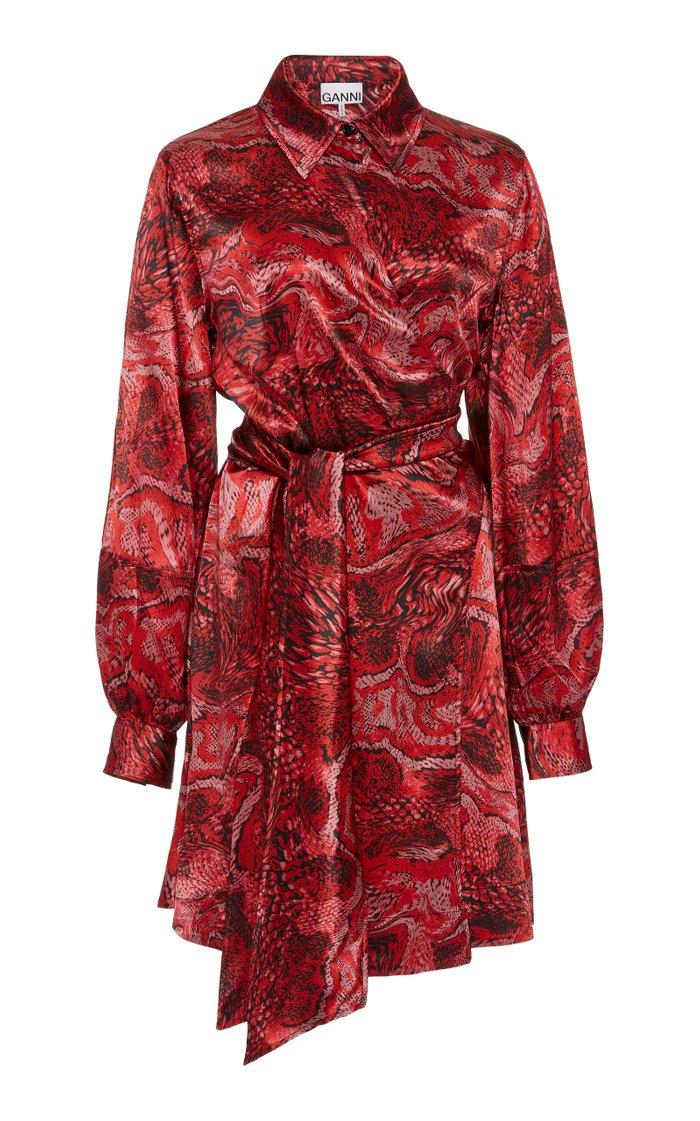 Printed Silk-Satin Wrap Dress