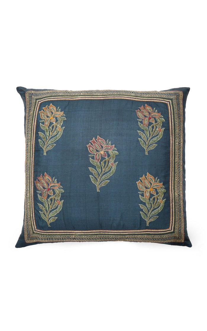 Lily-Embroidered Silk Pillow