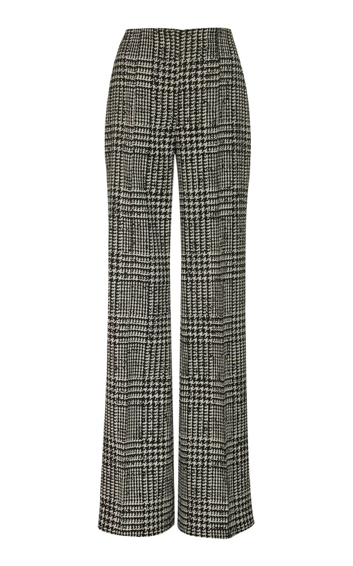High-Waisted Checked Silk And Wool Wide-Leg Pants