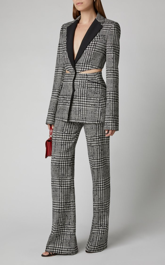Cutout Checked Silk And Wool Blazer