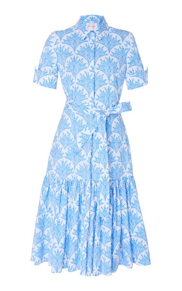 Belted Printed Cotton-Blend Midi Dress