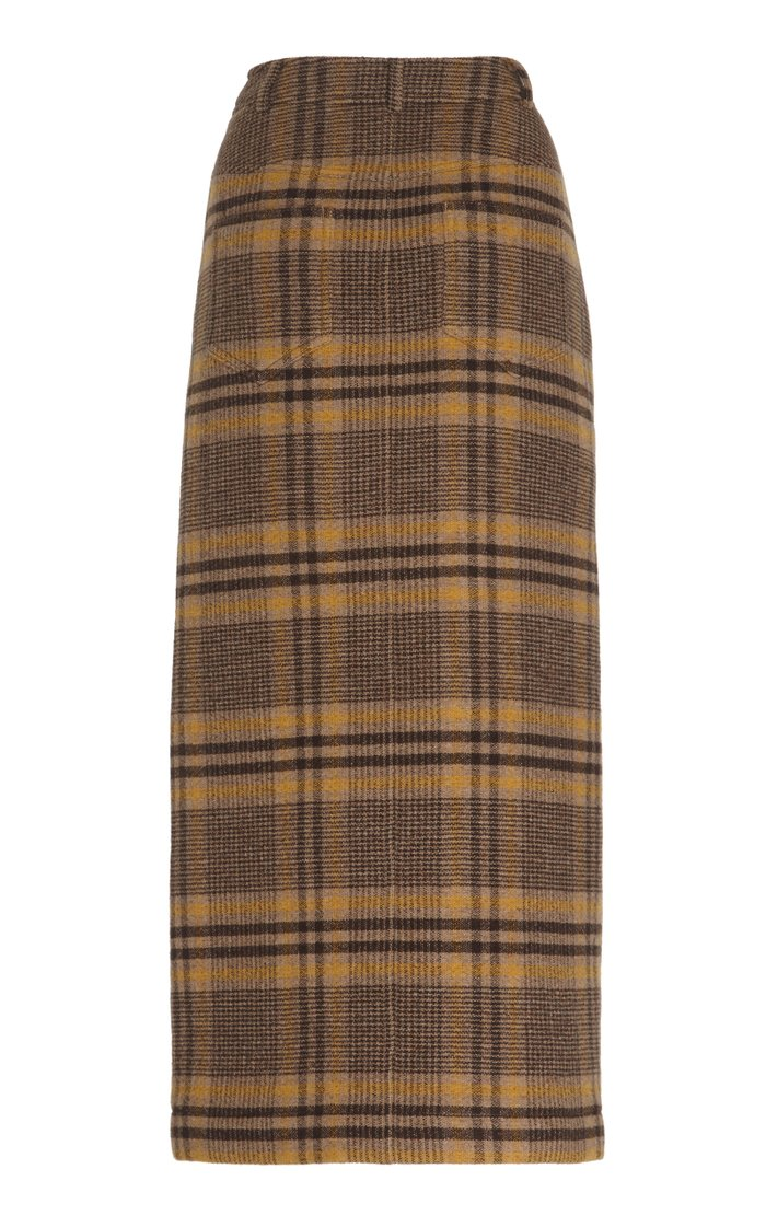 Maggie Leather-Trimmed Checked Wool Midi Skirt