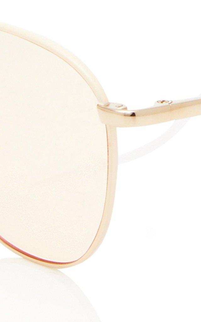 Gold-Tone Metal Aviator Sunglasses