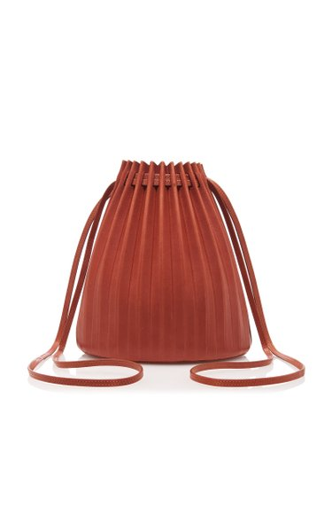 Pleated Brown Leather Bucket Bag