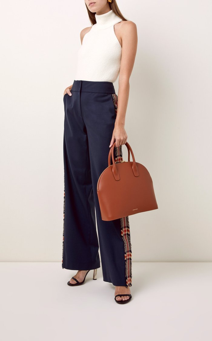 Rounded Leather Top Handle Bag