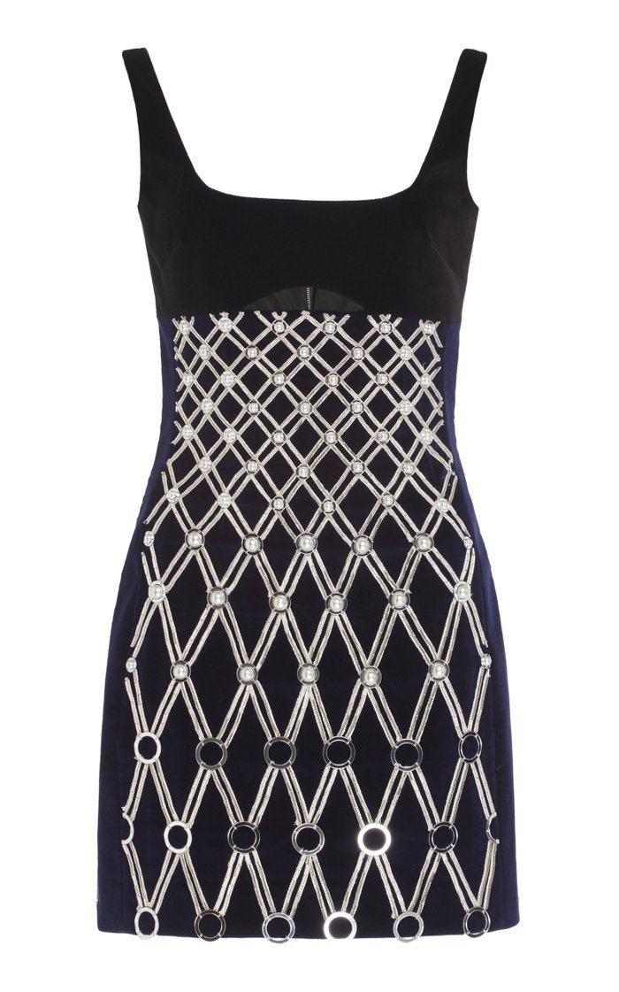 Embroidered Cutout Cotton-Blend Mini Dress