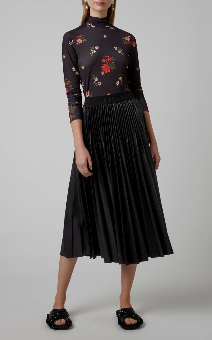 Floral-Embroidered Stretch-Jersey Turtleneck Top