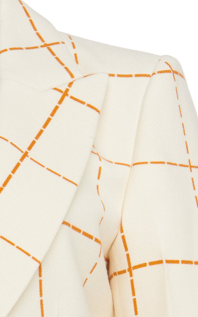 Embroidered Plaid Wool-Crepe Blazer