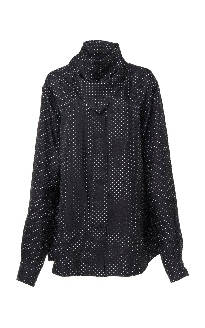 Polka Dot Pointed Collar Silk Crepe Top