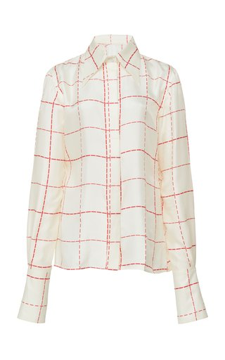 Windowpane Silk Crepe Scarf-Effect Blouse