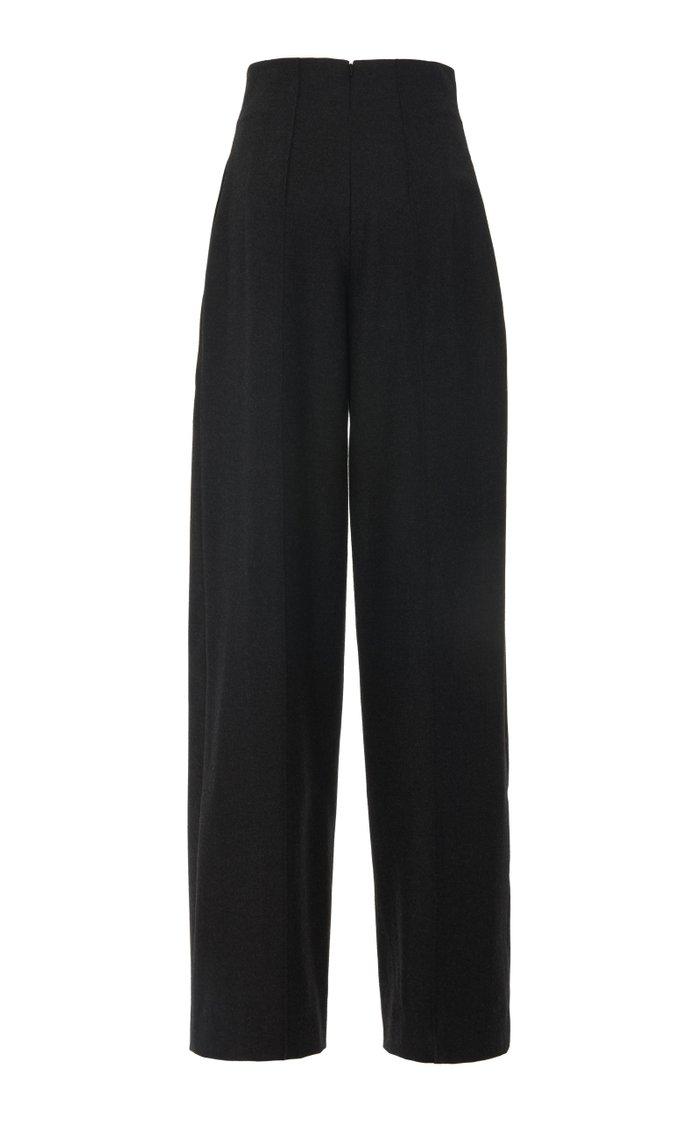 High-Waisted Wool-Blend Wide-Leg Pants