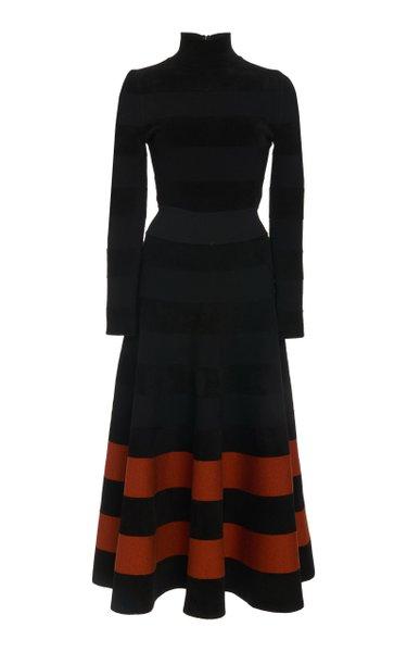 High-Necked Striped Chenille Midi dress
