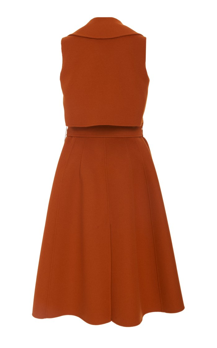 Belted Wool And Cashmere Midi Wrap Dress