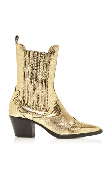 Atlanta Snake-Effect Metallic Leather Cowboy Boots
