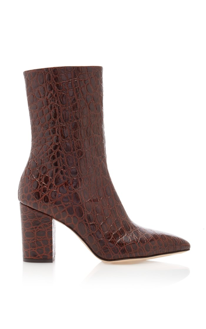 Florentia Croc-Embossed Leather Ankle Boots