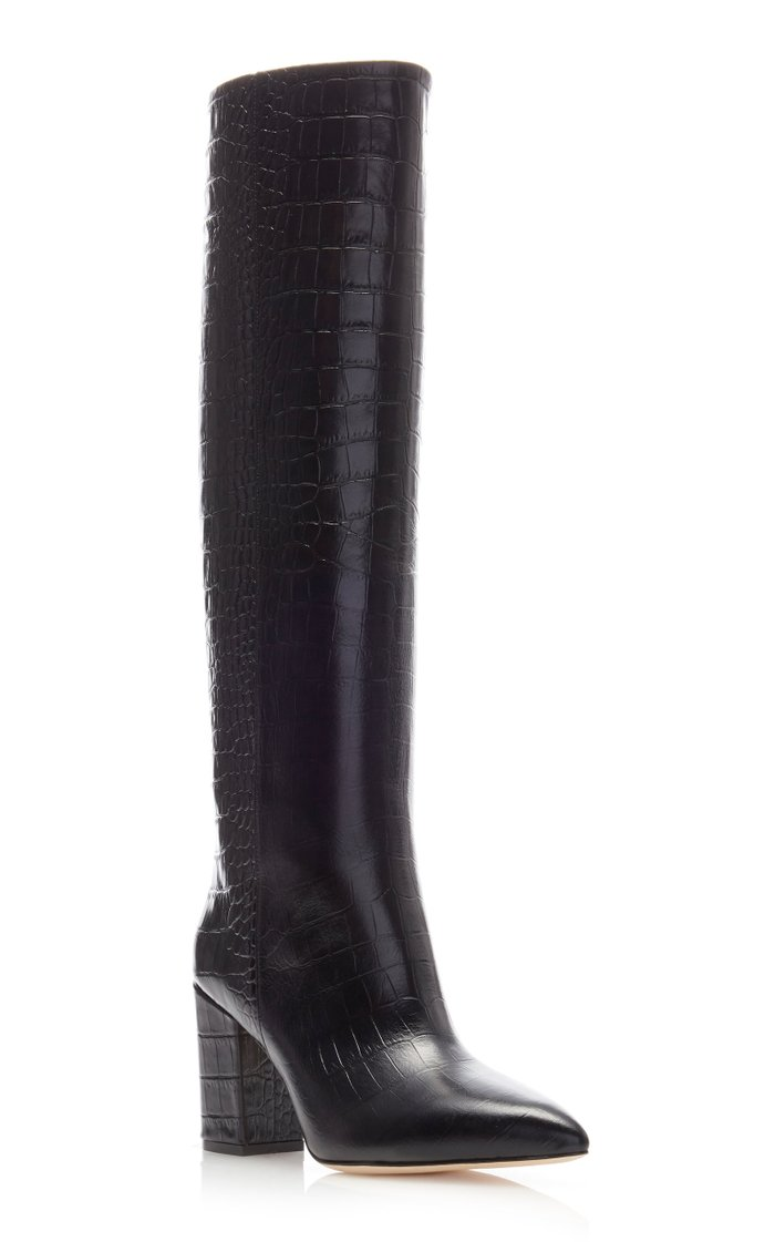 Croc-Embossed High Heeled Leather Boots