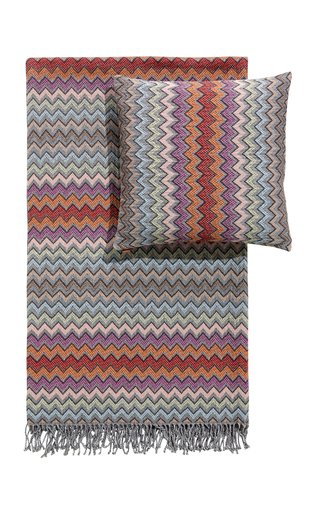 William cotton chevron Throw & Cushion Set