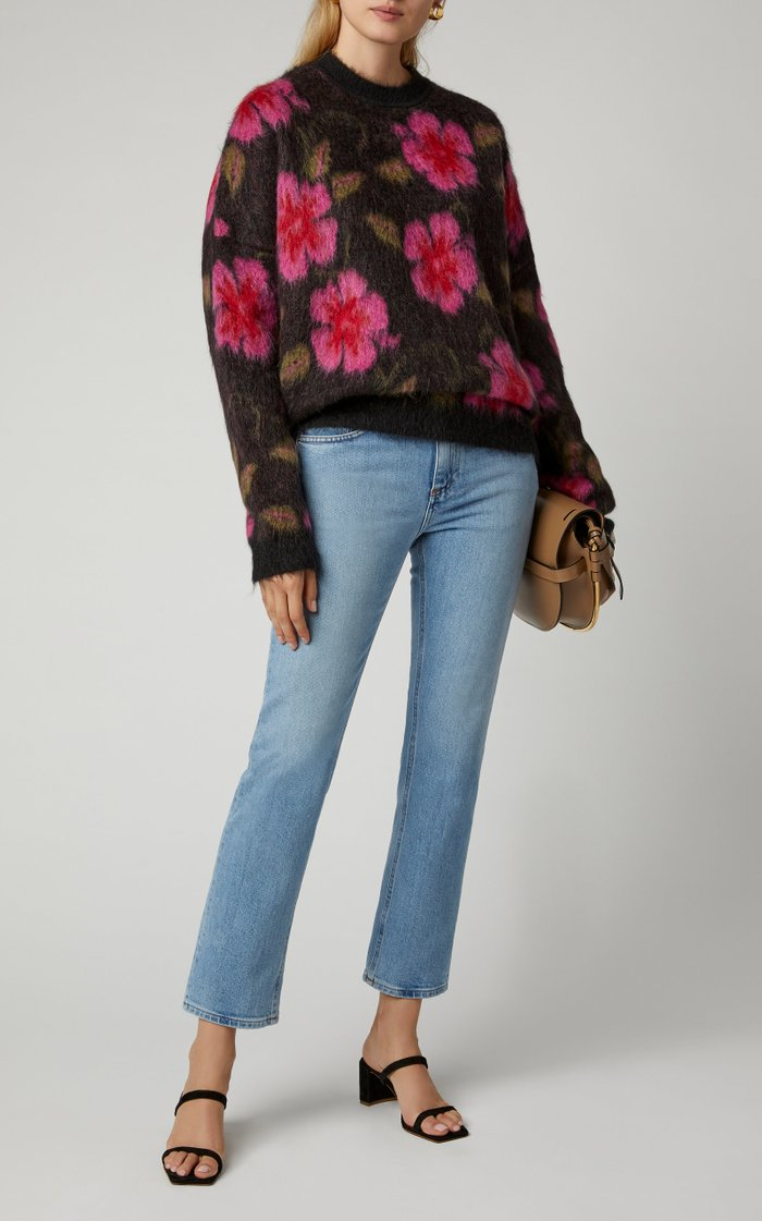 Printed Mohair-Blend Sweater