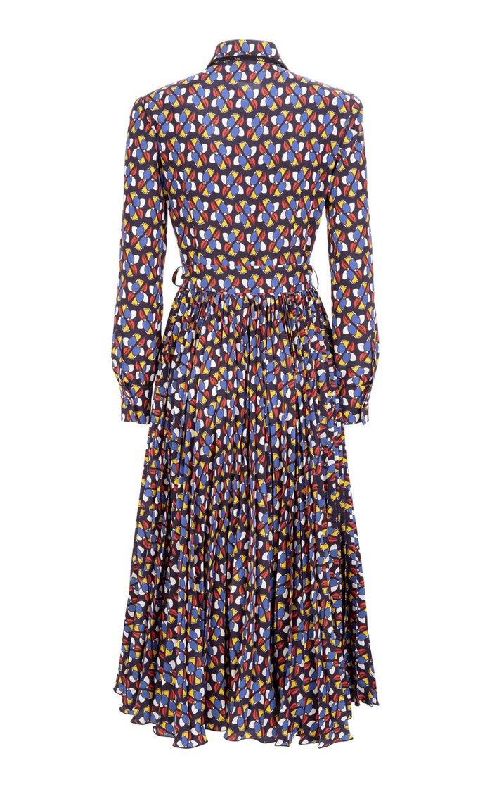 Pleated Printed Crepe Midi Dress