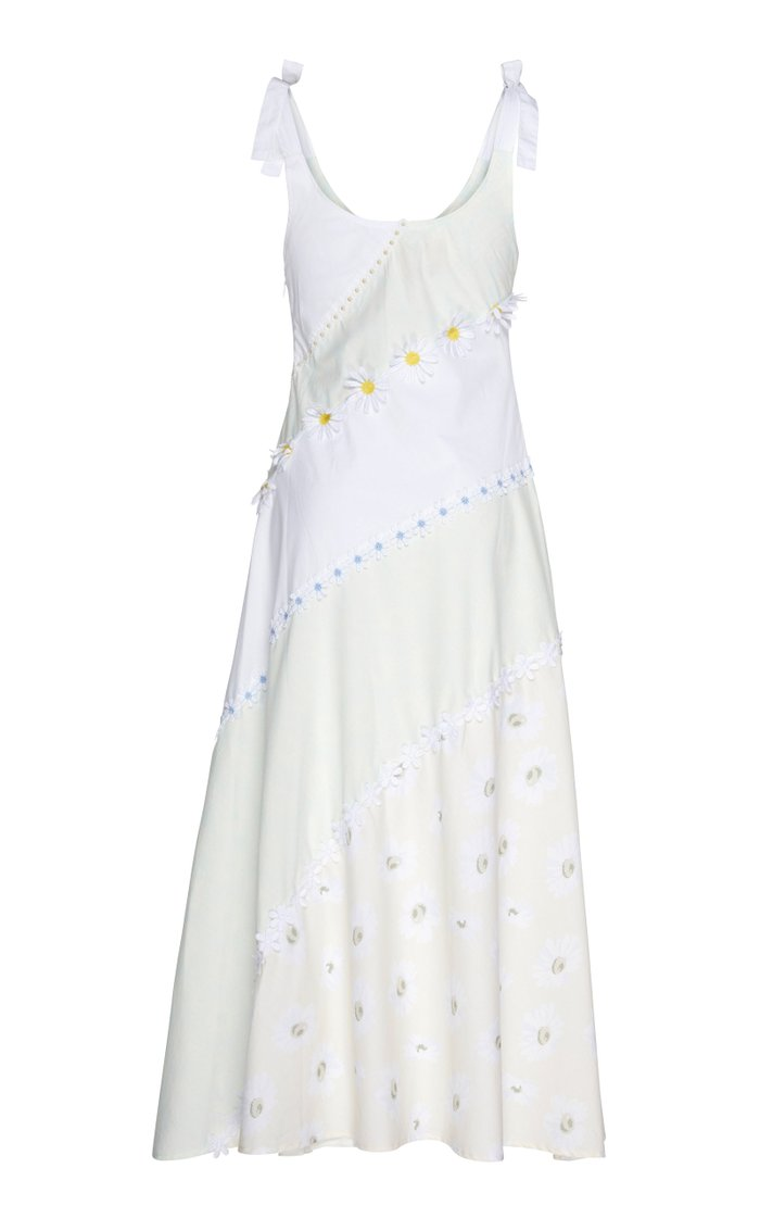 Floral-Appliquéd Cotton-Poplin Midi Dress