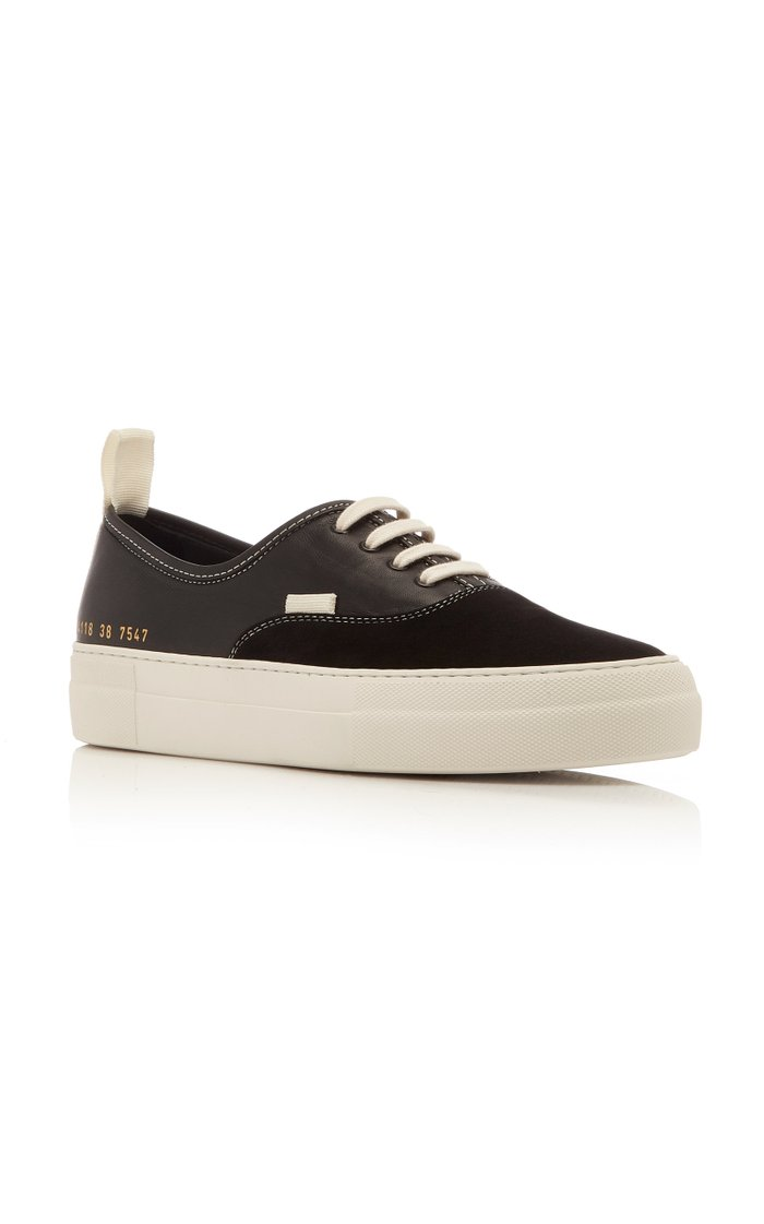 Four Hole Suede and Leather Sneakers