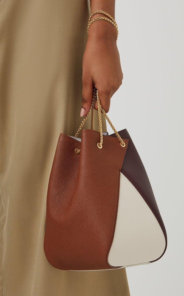 Mani Color-Block Leather Bucket Bag