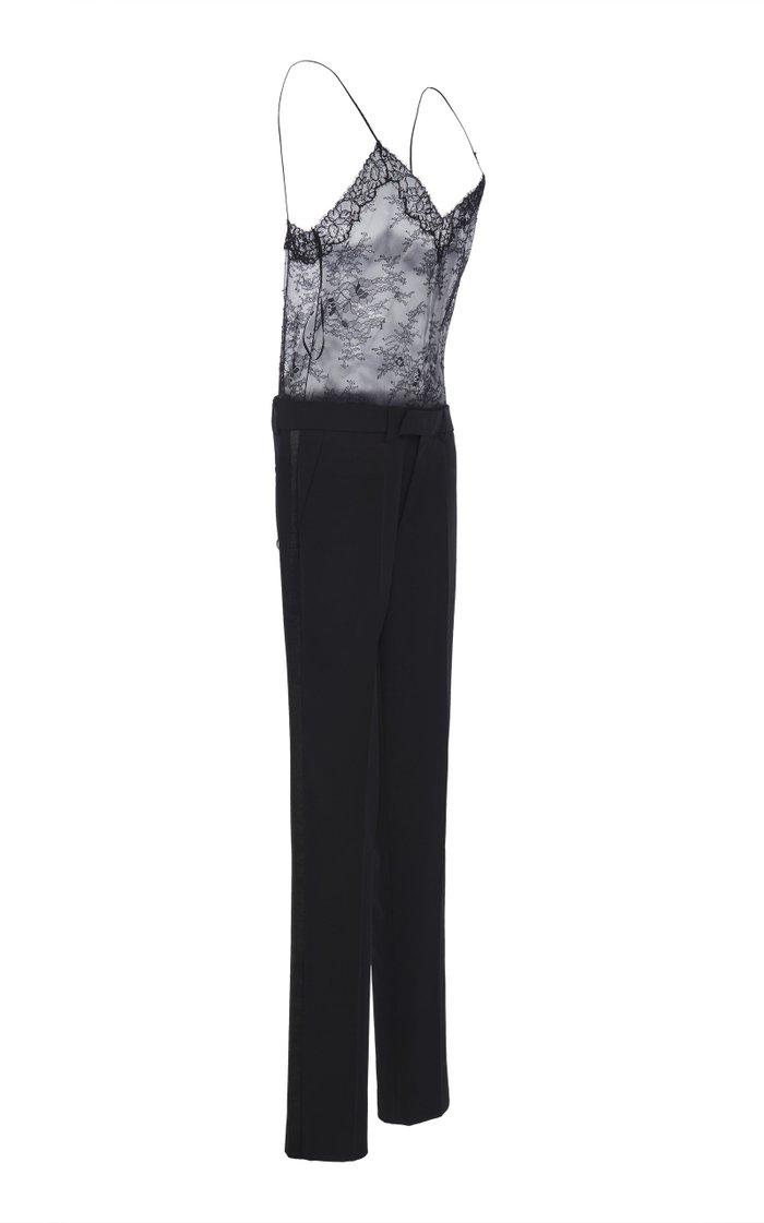 Lace Camisole Crepe Straight-Leg Jumpsuit