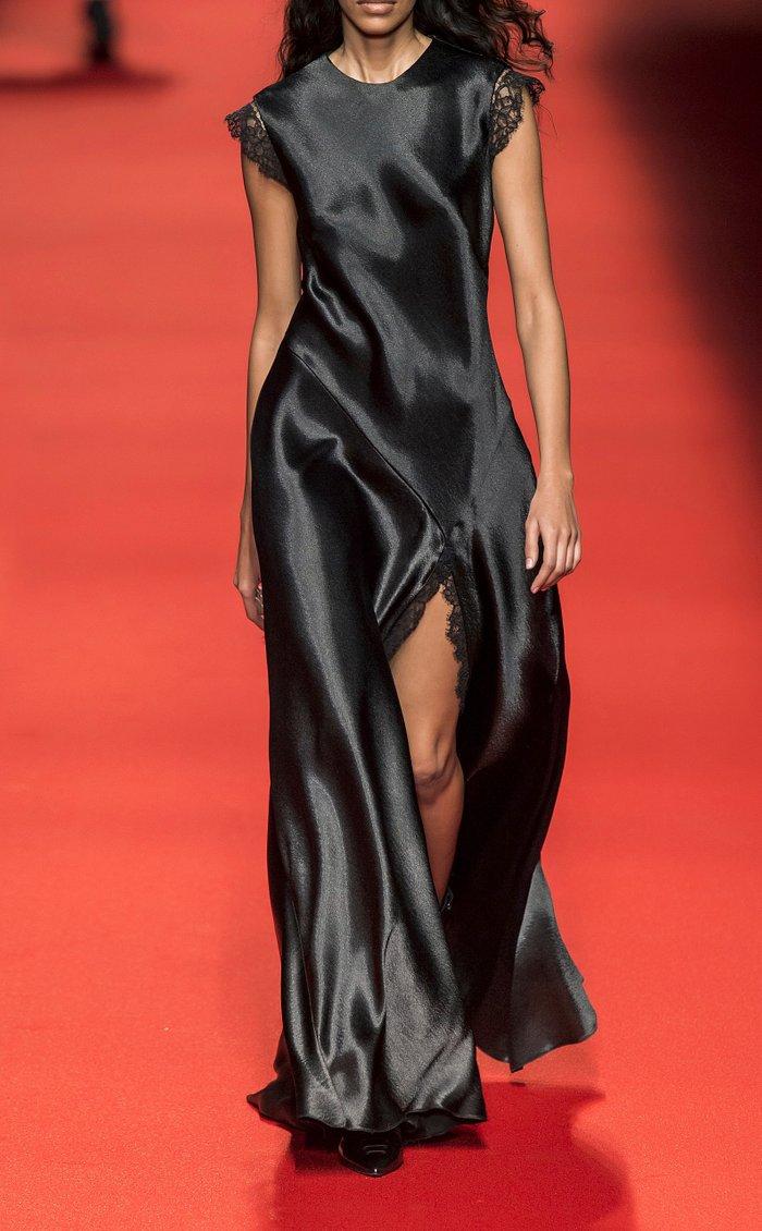 Front-Slit Lace-Trimmed Satin Maxi Dress