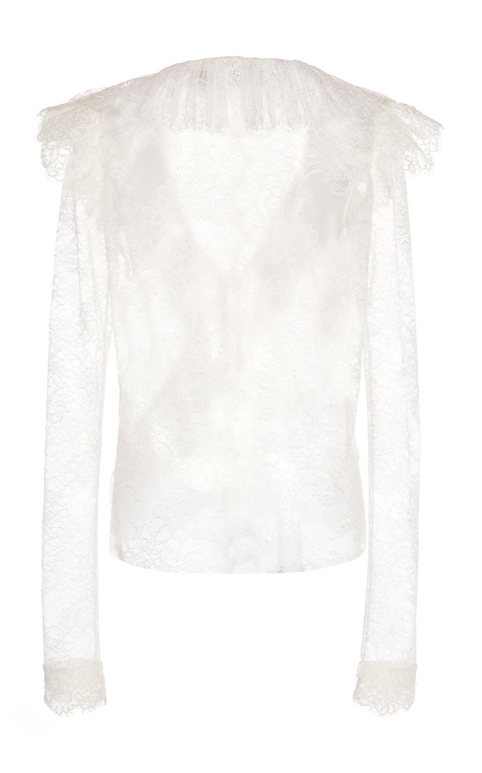 Ruffled Sheer Leaver's Lace Top