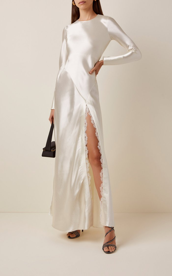 Lace-Trimmed Front-Slit Satin Gown