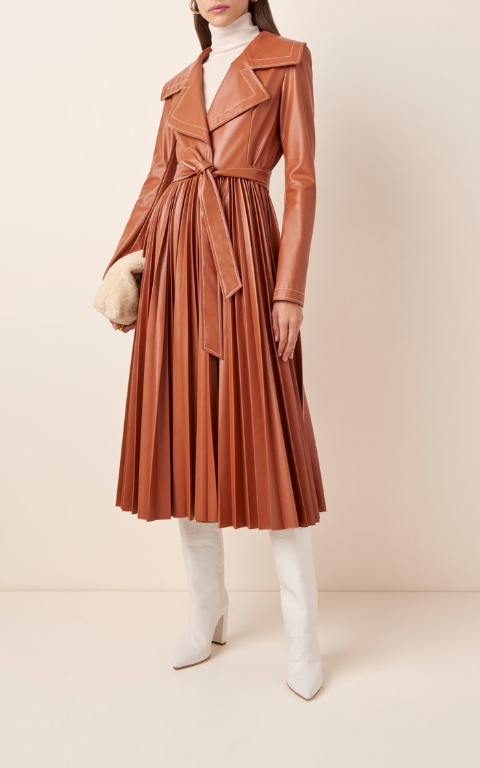Belted Pleated Faux Leather Coat