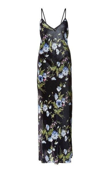 Exclusive Floral-Print Velvet Maxi Dress