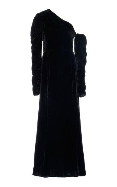 One-Shoulder Velvet Maxi Dress