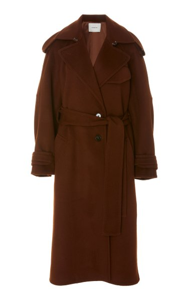 Oversized Belted Wool-Blend Trench Coat