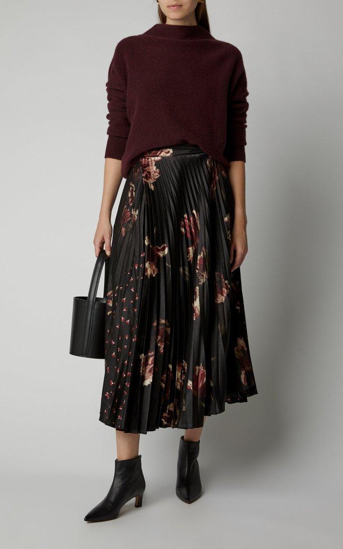 Pleated Floral-Print Cashmere Midi Skirt
