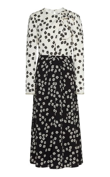 Two-Tone Floral-Print Crepe Midi Dress
