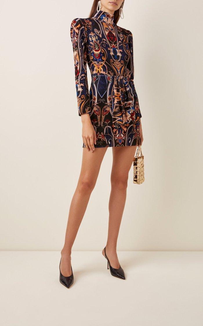 Printed Velvet Turtleneck Mini Dress