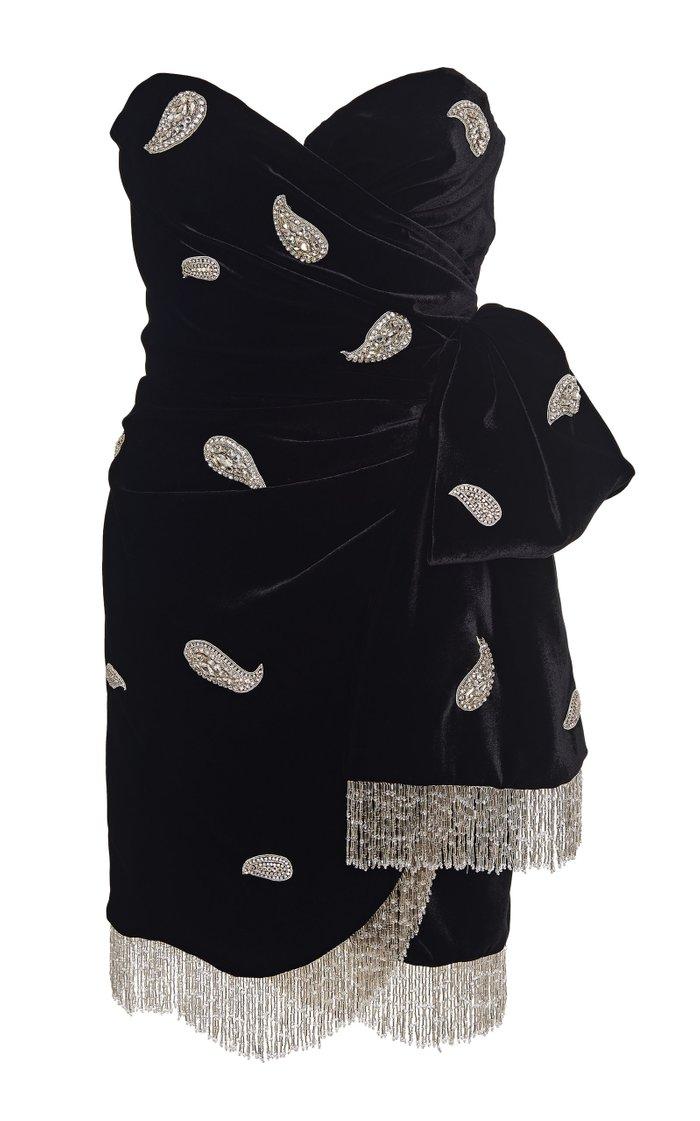 Embellished Wrap-Effect Velvet Mini Dress