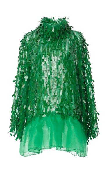 Embroidered Fringed Paillette Drop-Waist Dress