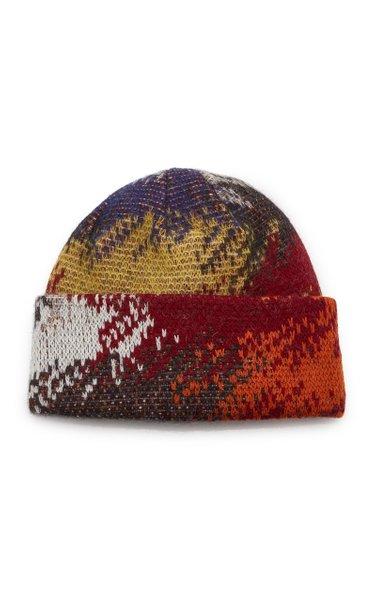Abstract-Print Wool-Blend Beanie